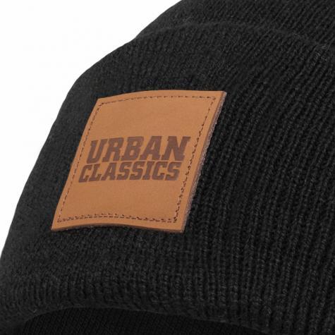 Urban Classics Leatherpatch Long Beanie schwarz