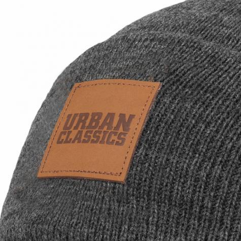 Urban Classics Leatherpatch Long Beanie charcoal