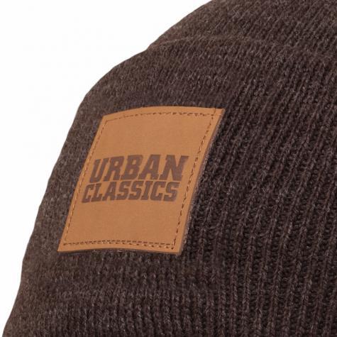 Urban Classics Leatherpatch Long Beanie braun