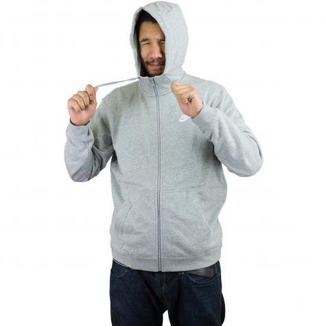 Nike Zip-Hoody FT Club grau/weiß