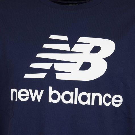 New Balance T-Shirt Essentials Stacked dunkelblau