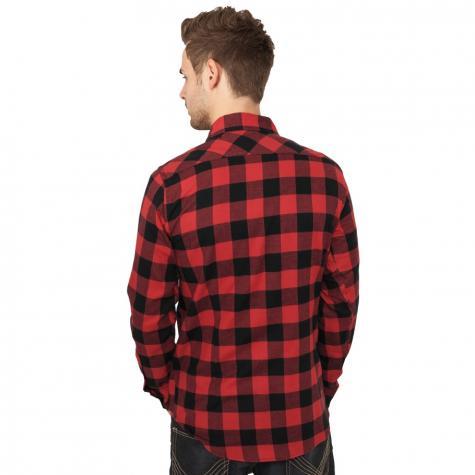 Urban Classics Hemd lang Checked Flanell schwarz/rot