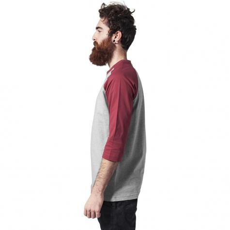 Urban Classics Longshirt Contrast 3/4 Sleeve Raglan grey/ruby