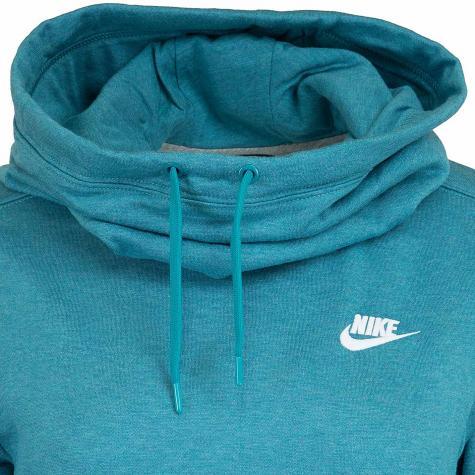 Nike Damen Hoody Funnel-Neck Fleece türkis/weiß