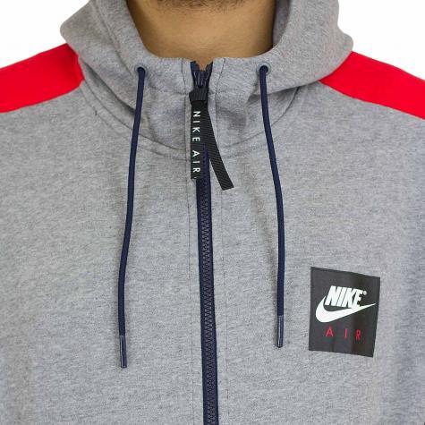 Nike Zip-Hoody Air Fleece grau/rot