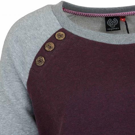 Ragwear Damen Sweatshirt Daria Block grau/weinrot