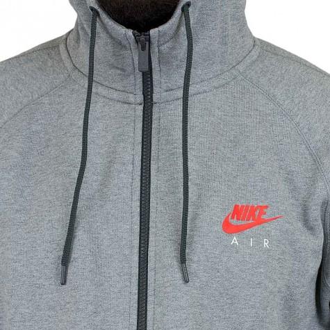 Nike Zip-Hoody Fullzip Fleece Air Heritage grau/rot