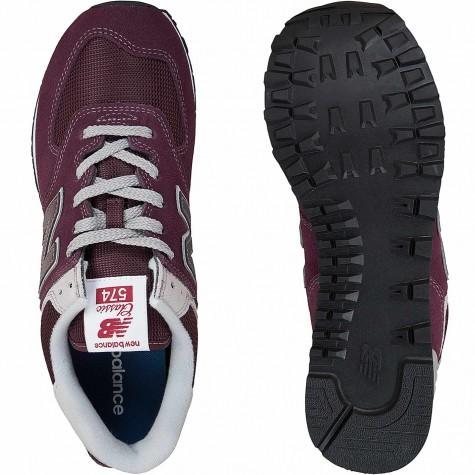 New Balance Sneaker 574 Wildleder/Mesh/Synthetik weinrot