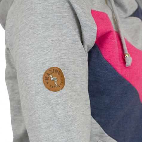 Mazine Damen Hoody Middleton Light grau/dunkelblau/pink