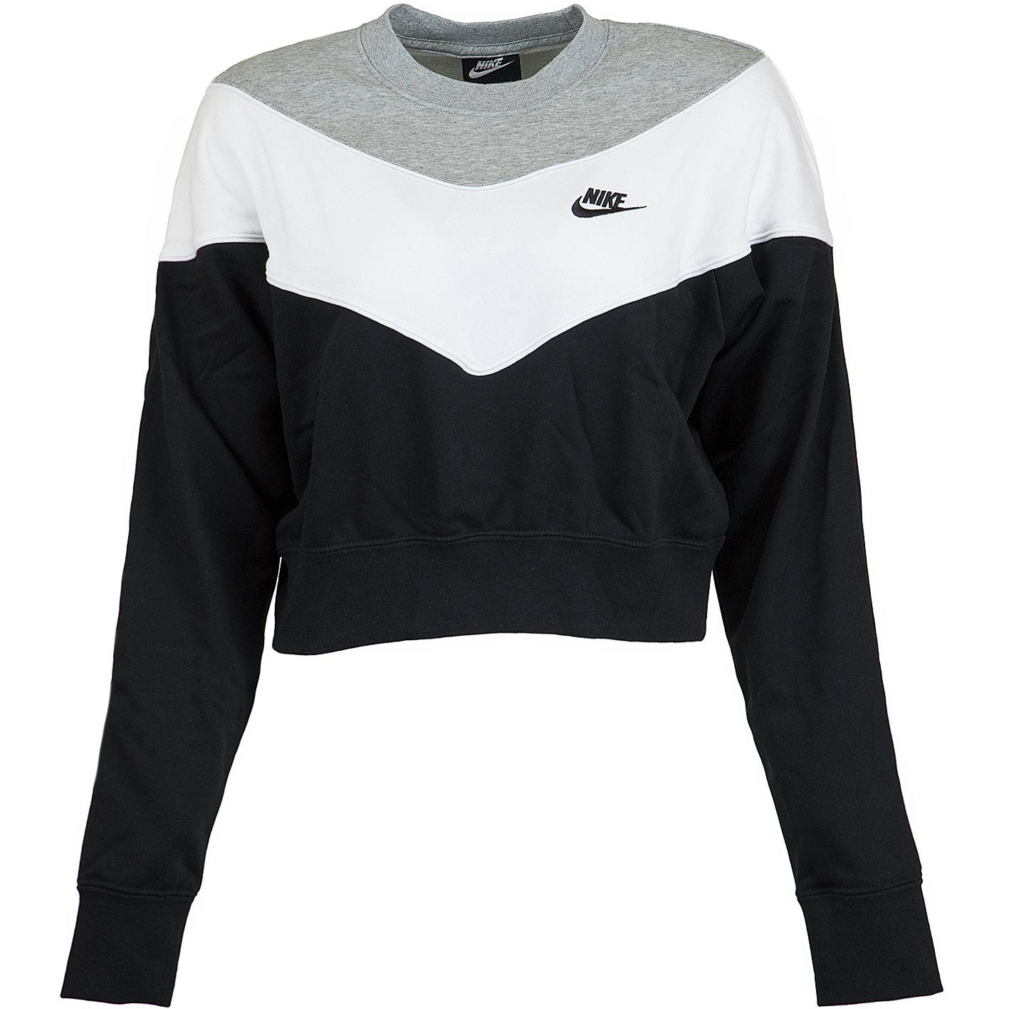 quality design d3636 6c6f7 Nike Damen Sweatshirt Heritage schwarz/weiß/grau
