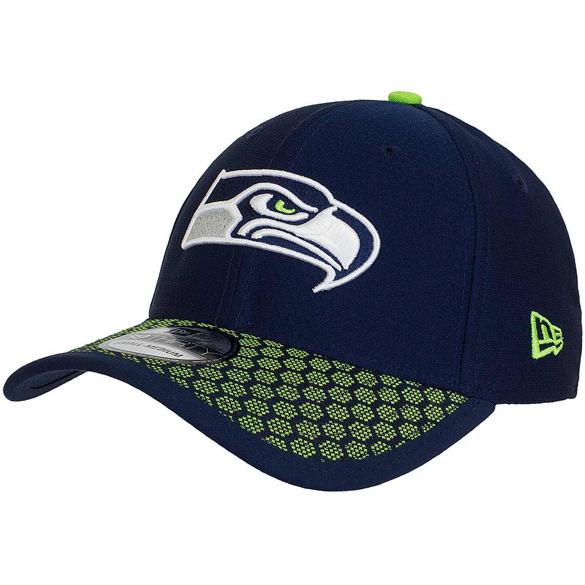 3b429cfcbd2 New Era 39Thirty Flexfit Cap OnField NFL17 Seattle Seahawks dunkelblau grün
