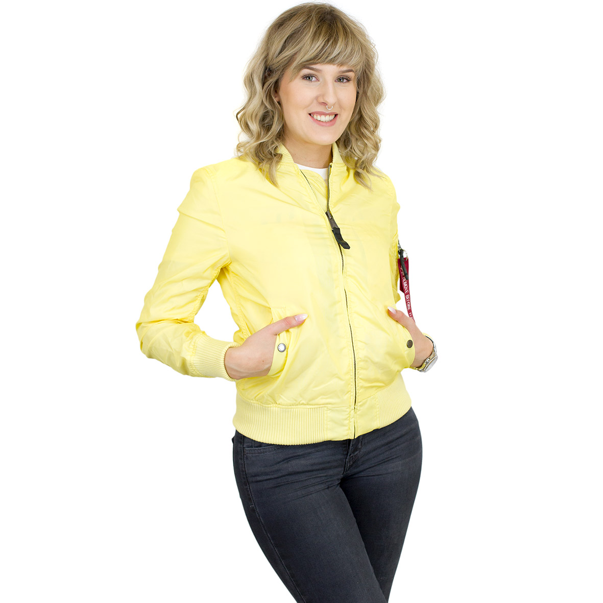 info for 97d48 29279 Alpha Industries Damen Jacke MA-1 TT lemon