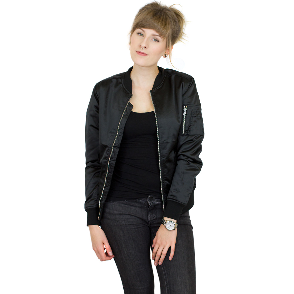 purchase cheap cf339 956b4 Urban Classics Damen Bomberjacke Satin Bomber schwarz