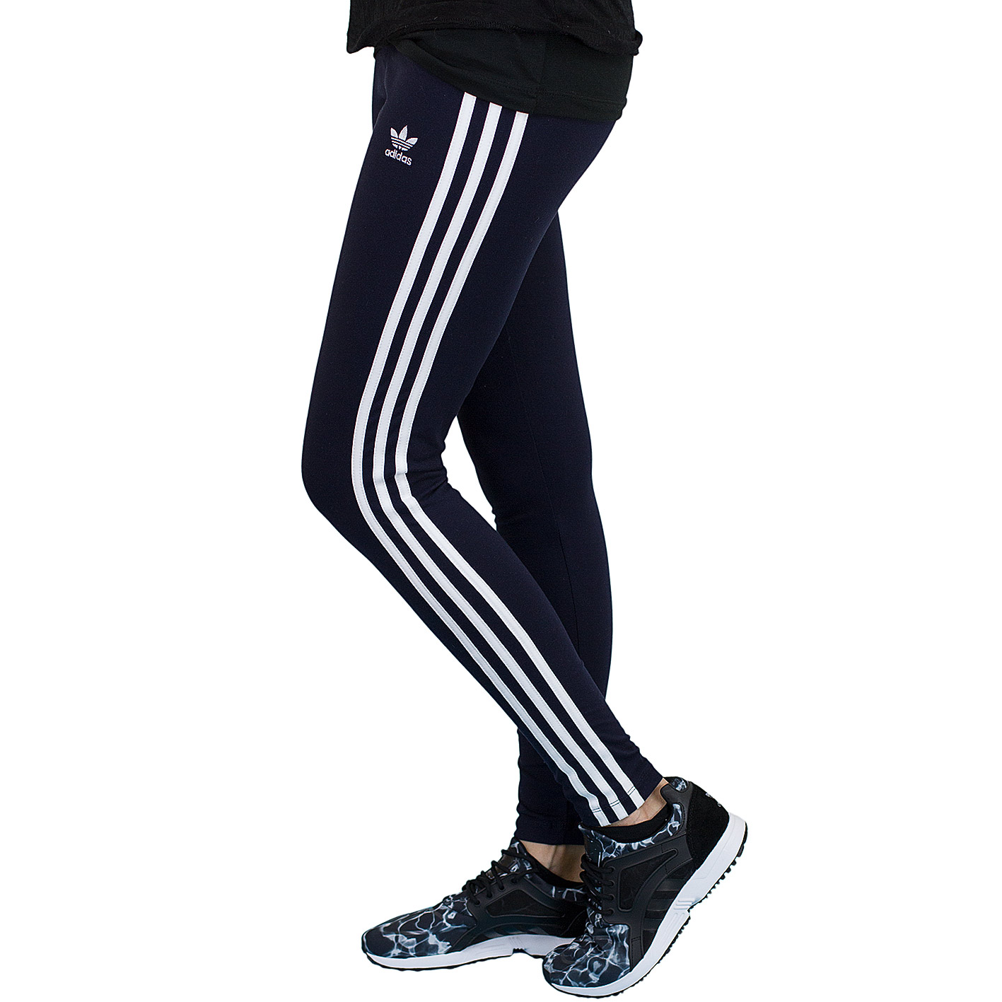 low cost best sale new products Adidas Leggings 3 Stripes dunkelblau/weiß