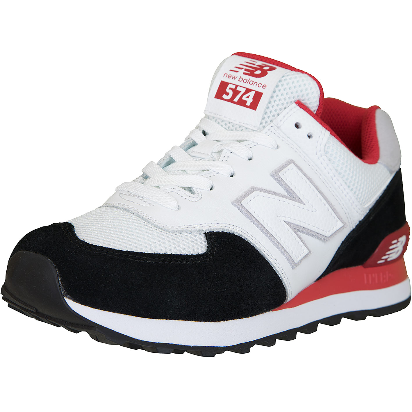 New Balance Sneaker 574 Leder/Textil weiß/schwarz/rot