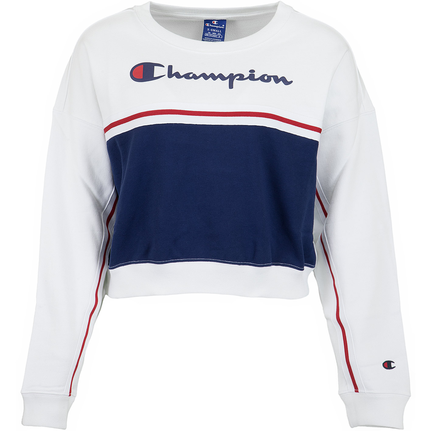 official photos b4b10 dd75b Champion Damen Sweatshirt Croptop weiß/dunkelblau
