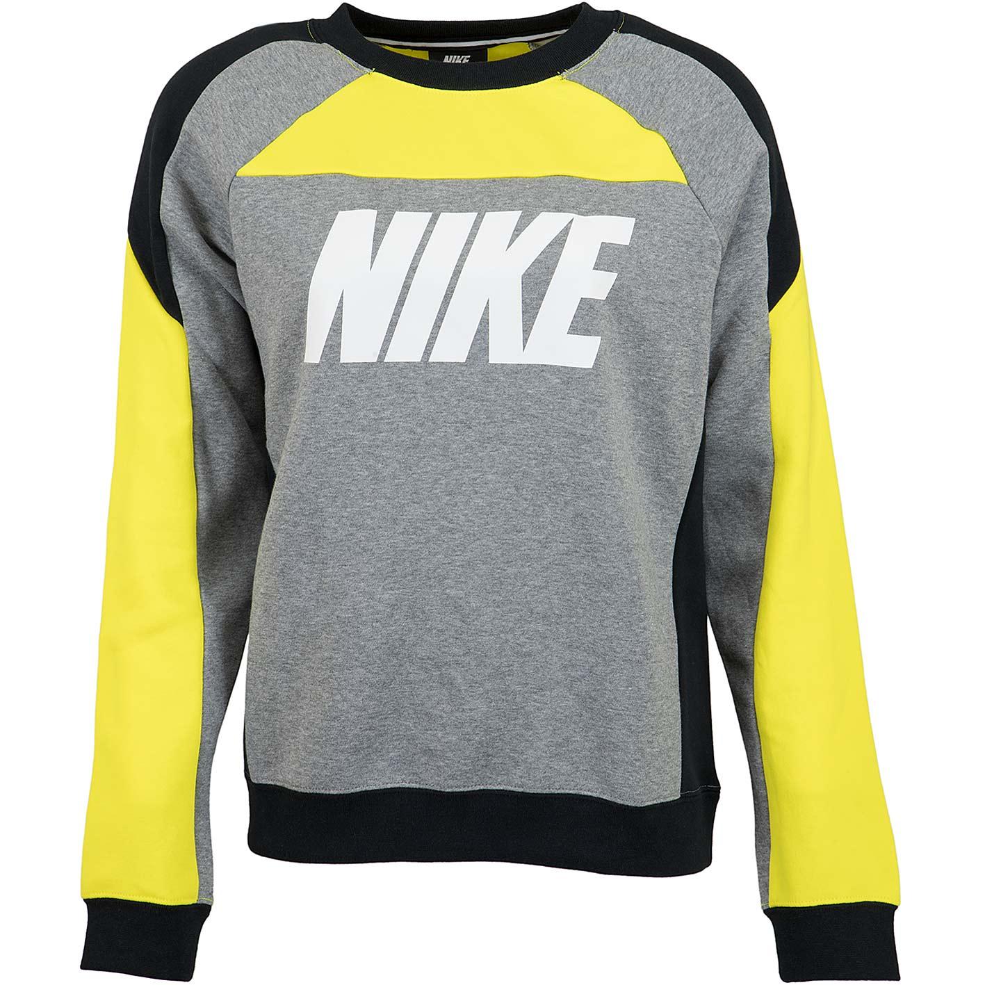 Nike Damen Sweatshirt CB Fleece gelbgrau