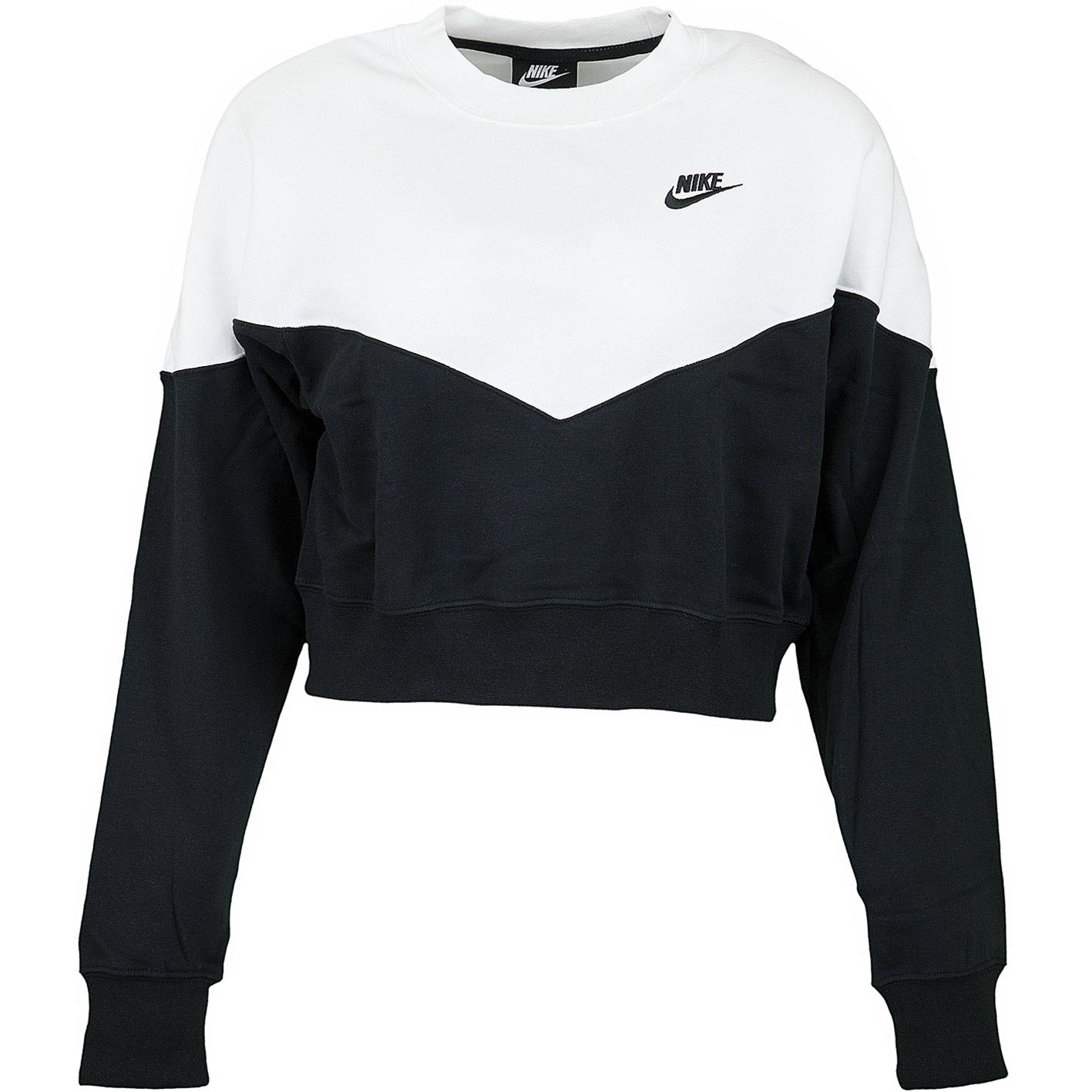 meet 2bc8e aee39 Nike Damen Sweatshirt Heritage Fleece schwarz/weiß