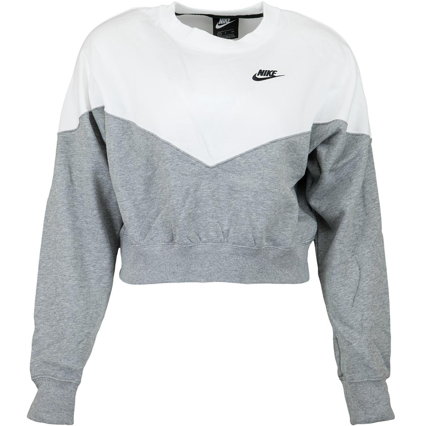 damen pullover     nike damen sweatshirt heritage fleece grau wei   hier bestellen   nike damen sweatshirt heritage fleece
