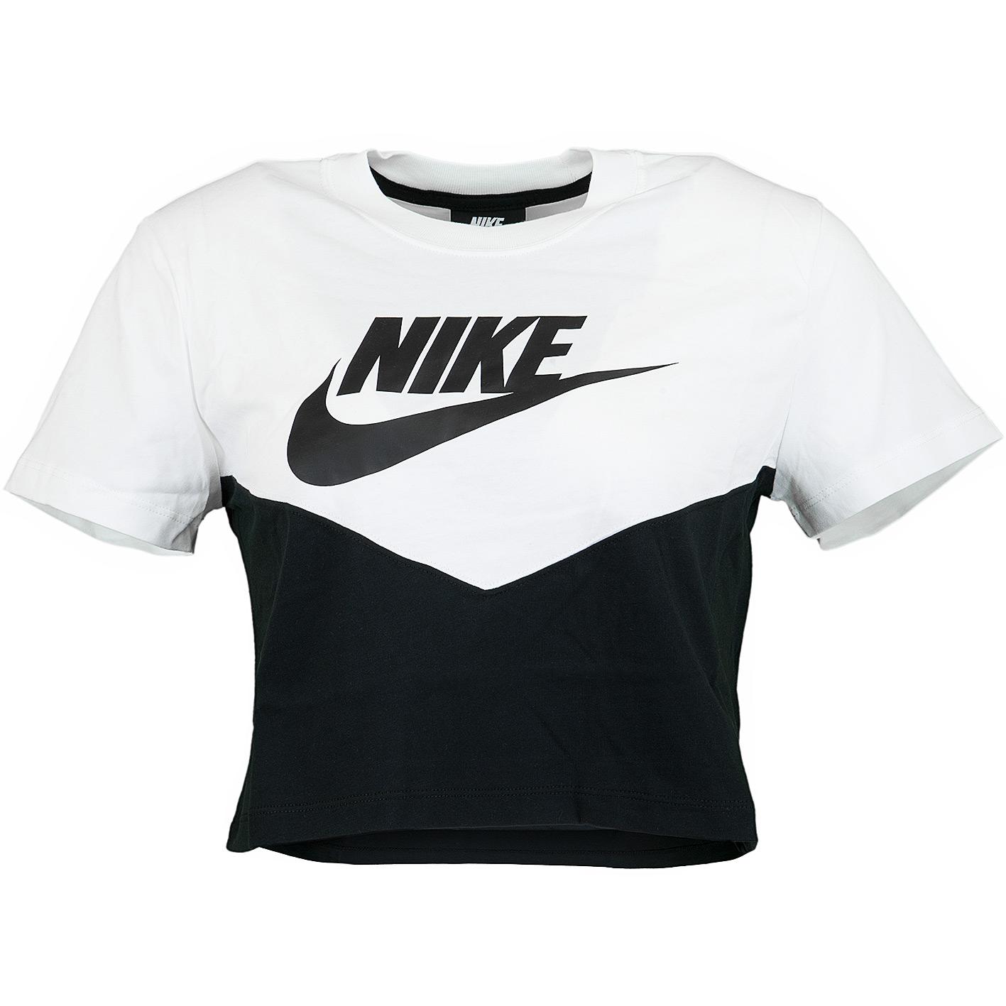 Nike Damen T Shirt Heritage schwarzweiß