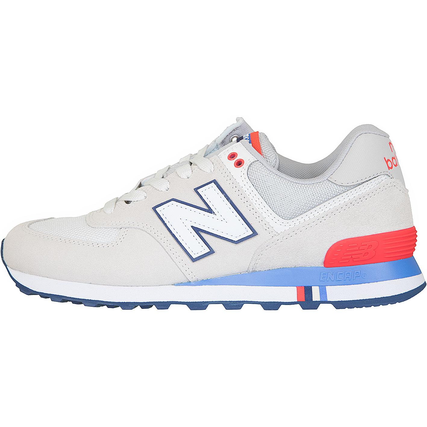 ☆ New Balance Sneaker 574 Leder/Textil beige/blau/rot ...
