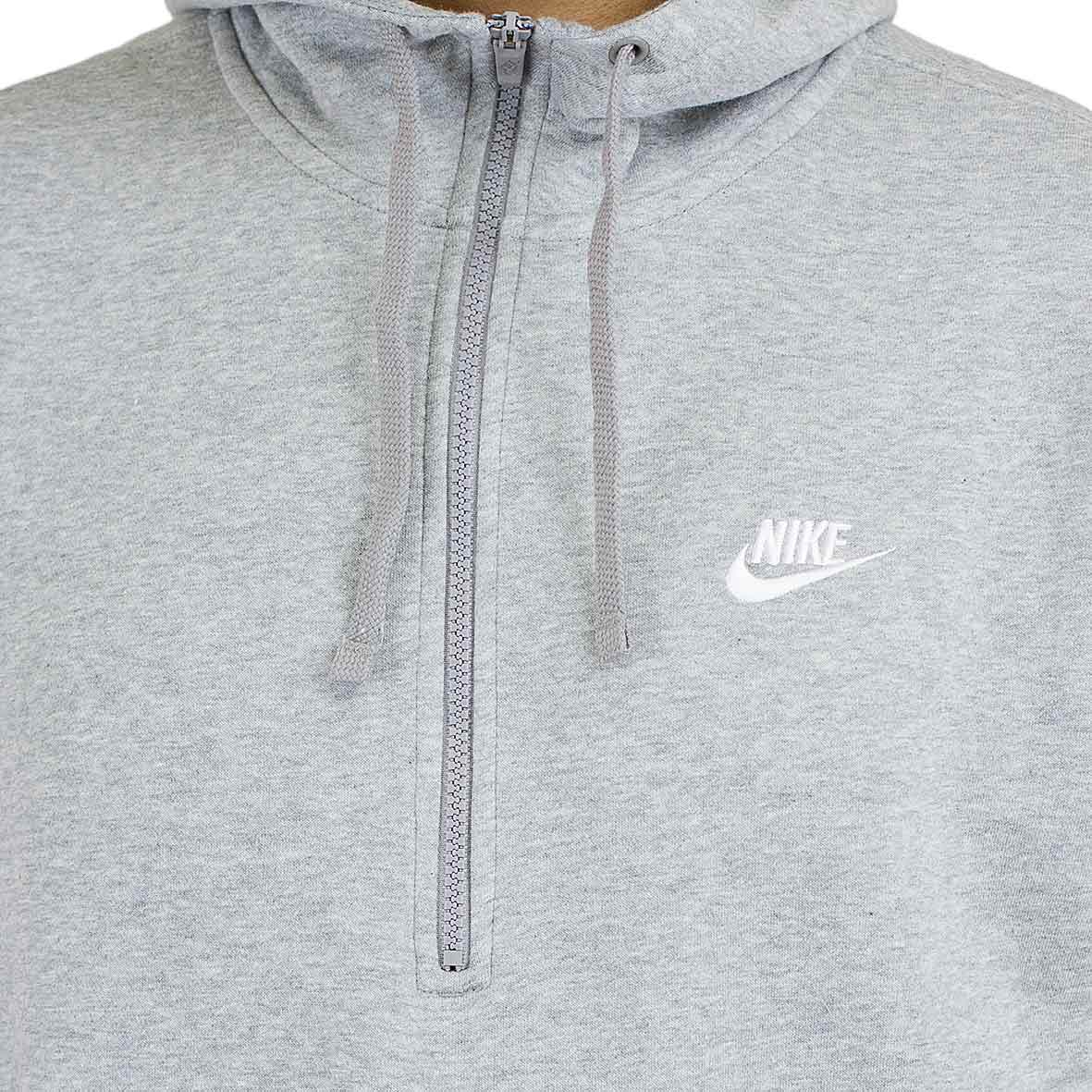 nike hoody club fleece half zip grau wei hier bestellen. Black Bedroom Furniture Sets. Home Design Ideas