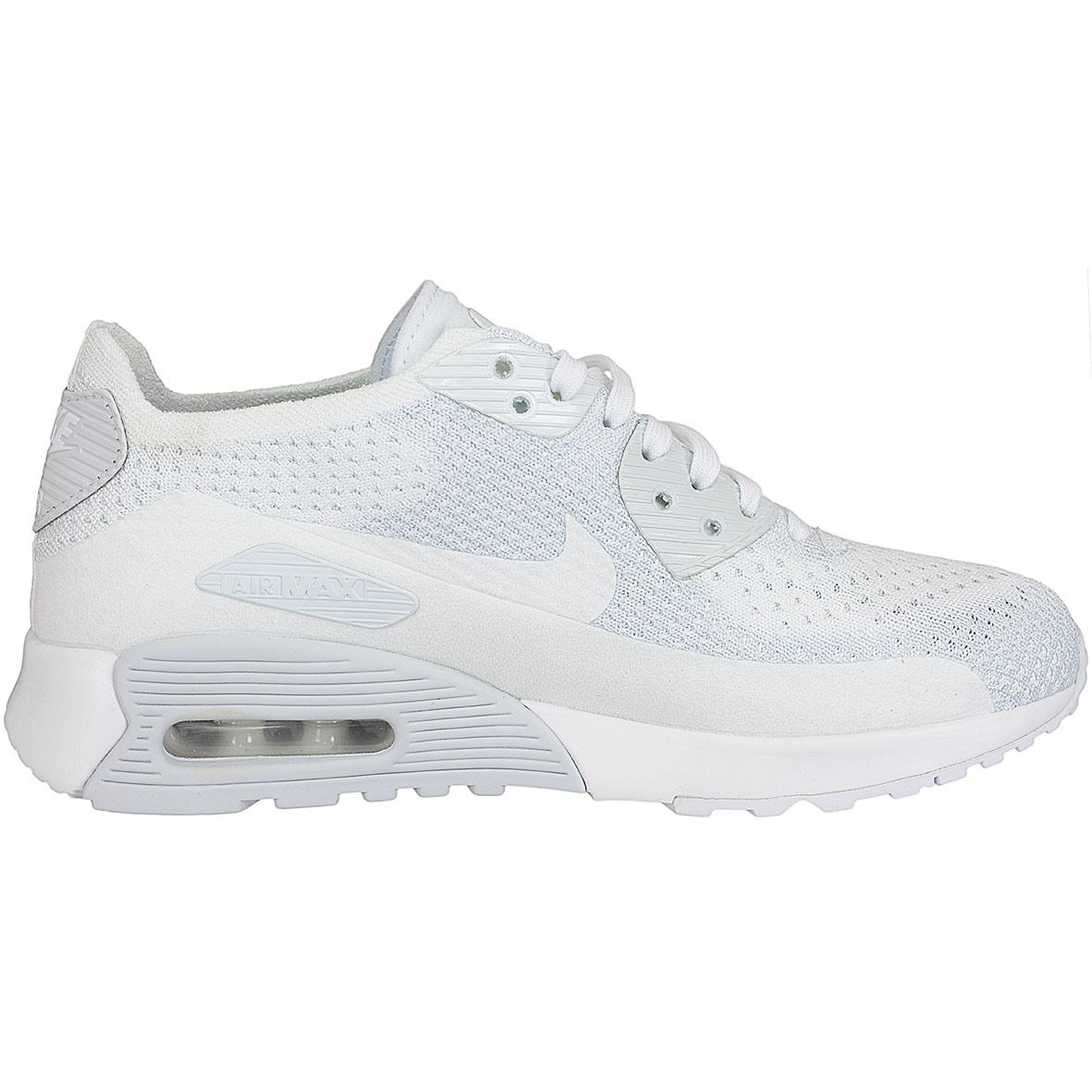 Nike Damen Turnschuhe Air Max 90 Ultra 2.0 Flyknit weiß weiß